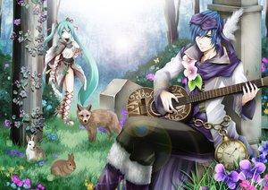 Rating: Safe Score: 35 Tags: animal aqua_eyes aqua_hair blue_eyes blue_hair flowers forest fox guitar hatsune_miku instrument kaito kuromayu male rabbit tree twintails vocaloid User: HawthorneKitty