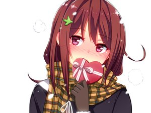 Rating: Safe Score: 243 Tags: blush brown_hair chocolate close ginichi_(toot08) gloves original pink_eyes scarf snow valentine white winter User: FormX