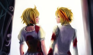 Rating: Safe Score: 20 Tags: blonde_hair blood kagamine_len kagamine_rin skirt twins vocaloid yellow_eyes User: HawthorneKitty