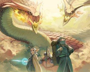 Rating: Safe Score: 96 Tags: blue_eyes dragon glasses gray_hair hat magic original pixiv_fantasia pointed_ears rai32019 skirt sword weapon User: FormX