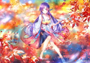 Rating: Safe Score: 36 Tags: autumn bell chinese_clothes leaves long_hair purple_hair red_eyes signed snow vocaloid vocaloid_china water xin_hua yu_jiu User: otaku_emmy