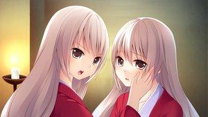 Rating: Safe Score: 24 Tags: 2girls game_cg long_hair sengoku_hime twins white_hair User: Maboroshi