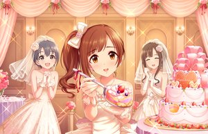 Rating: Safe Score: 37 Tags: annin_doufu blush bow brown_eyes brown_hair cake dress elbow_gloves flowers food fruit gloves gray_eyes gray_hair idolmaster idolmaster_cinderella_girls idolmaster_cinderella_girls_starlight_stage igarashi_kyouko long_hair mizumoto_yukari otokura_yuuki ponytail ribbons rose short_hair strawberry wedding wedding_attire User: RyuZU