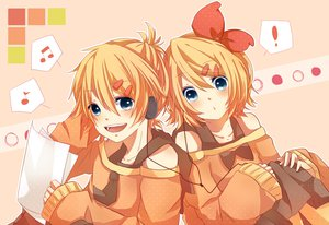 Rating: Safe Score: 59 Tags: blonde_hair blue_eyes kagamine_len kagamine_rin mikan_(kuriyu405) paper short_hair vocaloid User: FormX