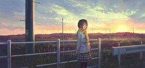 Rating: Safe Score: 24 Tags: feel_(nasitaki) grass original scarf scenic short_hair sky sunset User: FormX