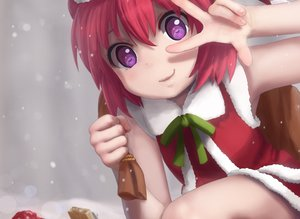 Rating: Safe Score: 90 Tags: akaza_akari aliasing bow christmas cropped novcel purple_eyes red_hair ribbons santa_costume short_hair snow yuru_yuri User: luckyluna