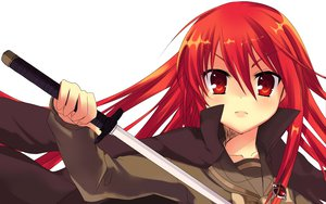 Rating: Safe Score: 35 Tags: katana long_hair red_eyes red_hair shakugan_no_shana shana sword weapon white User: Tensa