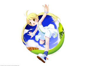 Rating: Safe Score: 18 Tags: blonde_hair blush clouds dress flat_chest grass moetan pop ribbons summer white yellow_eyes User: Oyashiro-sama