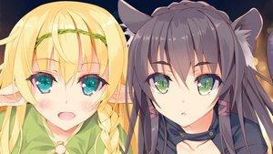 Rating: Safe Score: 57 Tags: 2girls catgirl close cropped isekai_maou_to_shoukan_shoujo_no_dorei_majutsu rem_galeu shera_l._greenwood tsurusaki_takahiro User: Nekro_Nus