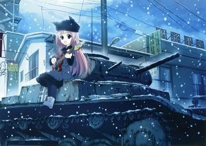 Rating: Safe Score: 150 Tags: combat_vehicle guitar hat instrument long_hair motoyon pink_hair purple_eyes scan snow tagme User: Wiresetc
