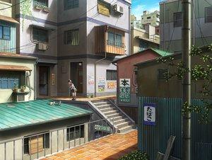 Rating: Safe Score: 27 Tags: animal building cat city hashi jpeg_artifacts kneehighs original rooftop seifuku skirt stairs translation_request User: RyuZU