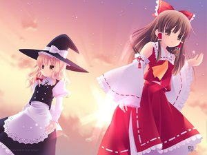 Rating: Safe Score: 9 Tags: 2girls hakurei_reimu japanese_clothes kirisame_marisa kurasawa_kyoushou miko touhou witch User: 秀悟