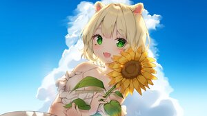 Rating: Safe Score: 35 Tags: animal_ears blonde_hair blush cheli_(kso1564) close clouds dress flowers green_eyes short_hair sky summer_dress sunflower User: BattlequeenYume