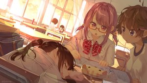 Rating: Safe Score: 44 Tags: ayataka black_hair blue_eyes blush book bow brown_hair glasses group gym_uniform long_hair original pink_eyes pink_hair ponytail school_uniform short_hair signed sleeping sunset twintails User: Fepple