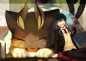 Rating: Safe Score: 43 Tags: all_male animal ao_no_exorcist black_hair blue_eyes cat catboy jpeg_artifacts male okumura_rin school_uniform short_hair signed tail tie yukibi User: RyuZU