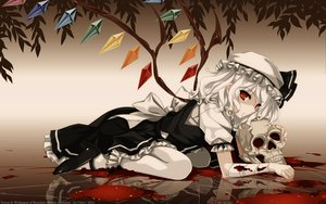 Rating: Safe Score: 115 Tags: bandage blood flandre_scarlet hat leaves lolita_fashion misaki_kurehito red_eyes short_hair skull touhou white_hair wings User: Elnarutoxxx2020