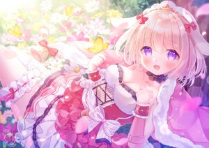 Rating: Safe Score: 41 Tags: animal_ears blonde_hair bow breast_hold breasts bunny_ears bunnygirl butterfly cleavage cosette_(red:_pride_of_eden) dress flowers omochi_monaka red:_pride_of_eden signed User: BattlequeenYume