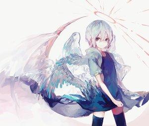 Rating: Safe Score: 59 Tags: angel blue_eyes dress halo original short_hair suzukami thighhighs wings zettai_ryouiki User: RyuZU