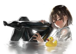 Rating: Safe Score: 87 Tags: brown_eyes brown_hair original rubber_duck see_through short_hair water wet yomu_(sgt_epper) User: RyuZU