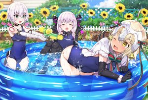 Rating: Safe Score: 44 Tags: bandage bell blonde_hair bow braids cape choker elbow_gloves fate/grand_order fate_(series) flowers gloves gray_hair green_eyes headdress jack_the_ripper jeanne_d'arc_alter loli nursery_rhyme_(fate/extra) pool ribbons school_swimsuit short_hair sunflower swimsuit tetsubuta thighhighs twintails water wink yellow_eyes User: mattiasc02