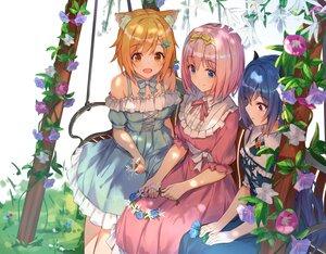 Rating: Safe Score: 90 Tags: catgirl flowers harusaki_hiyori isaya_(pixiv4541633) kusano_yui princess_connect! shijou_rei User: BattlequeenYume