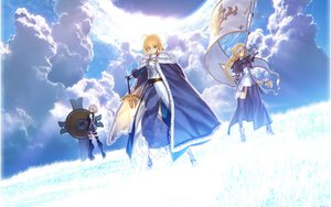Rating: Safe Score: 159 Tags: armor artoria_pendragon_(all) blonde_hair boots braids cape clouds cropped elbow_gloves fate/apocrypha fate/grand_order fate_(series) fate/stay_night gloves grass gray_eyes green_eyes jeanne_d'arc_(fate) long_hair mash_kyrielight pink_hair purple_eyes saber short_hair sky spear sword takeuchi_takashi thighhighs type-moon weapon User: Tensa