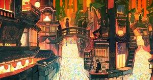 Rating: Safe Score: 35 Tags: building group japanese_clothes kitsune_(kazenouta) male original scenic shrine stairs User: RyuZU