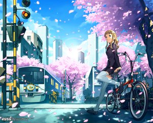 Rating: Safe Score: 43 Tags: bicycle blonde_hair blue_eyes building cherry_blossoms city flowers katou_akatsuki long_hair original thighhighs train tree watermark User: anaraquelk2
