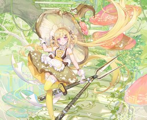Rating: Safe Score: 110 Tags: apron atdan blonde_hair bow butterfly cropped dress gloves hat leaves long_hair pink_eyes shian_(synthv) stairs synthesizer_v thighhighs twintails weapon witch_hat zettai_ryouiki User: otaku_emmy