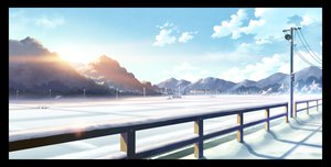 Rating: Safe Score: 112 Tags: byousoku_5_centimetre clouds landscape nobody original scenic sky snow technoheart train User: opai