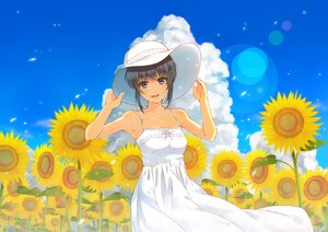 Rating: Safe Score: 91 Tags: black_hair blue_eyes dress flowers furai hat original short_hair summer_dress sunflower User: Dust