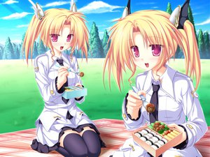 Rating: Safe Score: 30 Tags: blonde_hair food game_cg grass magus_tale nina_geminis red_eyes rena_geminis seifuku skirt sky tenmaso thighhighs tree twins twintails User: Oyashiro-sama