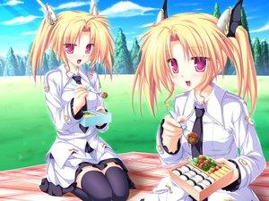Rating: Safe Score: 55 Tags: blonde_hair food game_cg grass magus_tale nina_geminis red_eyes rena_geminis school_uniform skirt sky tenmaso thighhighs tree twins twintails whirlpool User: Oyashiro-sama