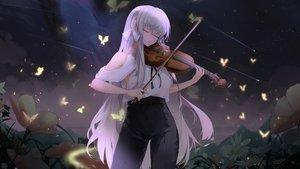 Rating: Safe Score: 49 Tags: aliasing butterfly clouds dark flowers instrument kooemong long_hair original sky violin white_hair User: BattlequeenYume