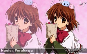 Rating: Safe Score: 11 Tags: brown_eyes brown_hair clannad dango_(clannad) furukawa_nagisa key logo short_hair zoom_layer User: 秀悟