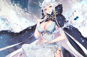 Rating: Safe Score: 155 Tags: breasts cape cleavage crown dress long_hair mirunai original staff white_hair User: FormX