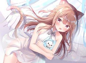 Rating: Questionable Score: 92 Tags: animal_ears blush braids brown_hair catgirl dress masayo_(gin_no_ame) original see_through tail User: BattlequeenYume