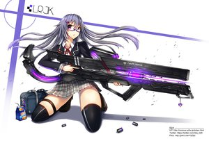 Rating: Safe Score: 247 Tags: gia glasses gray_hair gun original purple_eyes seifuku thighhighs weapon User: FormX