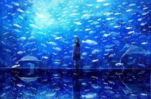 Rating: Safe Score: 70 Tags: animal blue fish kneehighs nomiya_(no_38) original scenic school_uniform short_hair skirt User: Flandre93