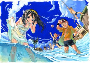 Rating: Safe Score: 32 Tags: ball beach blue_eyes brown_hair dress group long_hair sky swimsuit water User: alcuin