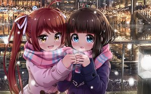 Rating: Safe Score: 33 Tags: 2girls asahina_kokomi battle_girl_high_school blue_eyes brown_hair building city drink hasumi_urara long_hair orange_eyes red_hair scarf tamanegi_(12030028) tree twintails water User: mattiasc02