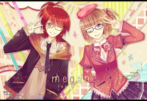 Rating: Safe Score: 20 Tags: 2girls brown_hair glasses hat long_hair original pink_eyes red_eyes red_hair ribbons short_hair skirt tie User: TomomiSuzune