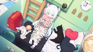 Rating: Safe Score: 56 Tags: agnamore animal animal_ears ball bed bunny catgirl drink loli long_hair original pajamas tiger waifu2x white_hair User: BattlequeenYume