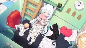 Rating: Safe Score: 57 Tags: agnamore animal animal_ears ball bed bunny catgirl drink loli long_hair original pajamas tiger waifu2x white_hair User: BattlequeenYume