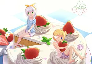 Rating: Safe Score: 19 Tags: 2girls abwan barefoot blonde_hair blue_eyes bow cake food fruit gray_hair green_eyes loli original short_hair shorts strawberry wink User: gnarf1975