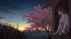 Rating: Safe Score: 53 Tags: bibido brown_eyes brown_hair chinese_clothes clouds long_hair scenic signed sky sunset tears tree wristwear User: otaku_emmy
