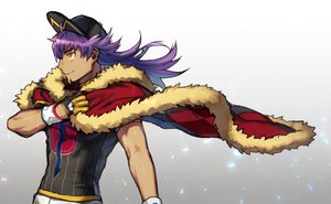 Rating: Safe Score: 7 Tags: all_male cape dande_(pokemon) dark_skin gloves gradient hat long_hair male pokemon purple_hair wristwear yellow_eyes yukibi User: otaku_emmy