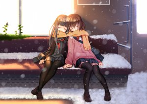 Rating: Safe Score: 231 Tags: 2girls brown_hair nana_mikoto original scarf seifuku snow thighhighs User: HawthorneKitty