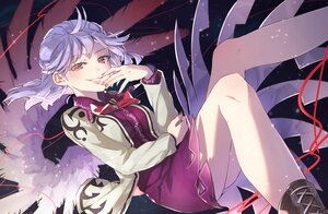 Rating: Safe Score: 4 Tags: bow dress kishin_sagume purple_hair red_eyes short_hair syuri22 touhou wings User: Maboroshi
