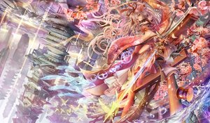 Rating: Safe Score: 184 Tags: afraco building butterfly flowers headdress long_hair original petals red_eyes scenic sword torii waifu2x water weapon white_hair User: Zolxys